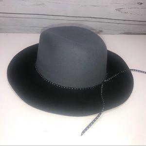 Felt Fedora Hat - Black & Grey By Summer & Rose
